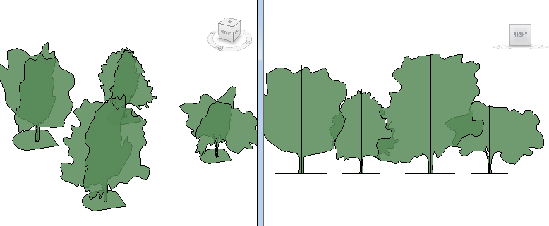Plan And Elevation Of Trees : Planting geometry rpc and solids landarchbim