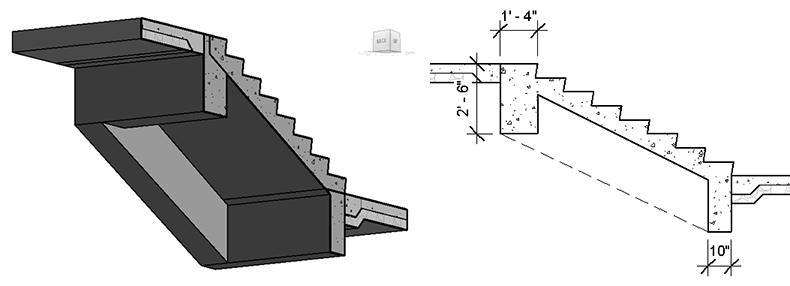 Stair Structure Using Model In Place